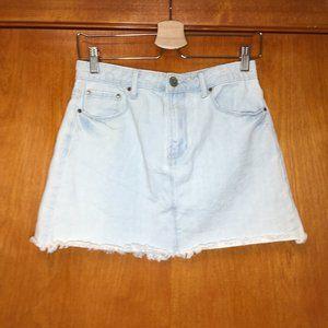 """Forever21 light blue denim skirt raw hem 13"""" boho"""